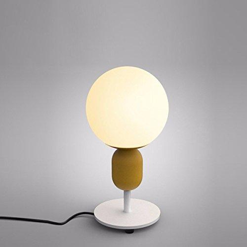 De eenvoudige minimalistische nippellamp met glazen bol voor slaapkamer, nachtkastje, woonkamer, kleine woonkamer, salontafel, boekenkast (geel)