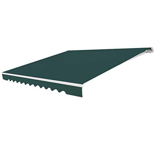 RELAX4LIFE Tenda da Sole Avvolgibile, Tenda da Veranda Retrattile con Manovella Manuale, Tenda da Esterno in Tessuto Impermeabile, Angolazione Regolabile per Balcone e Terrazzo, 3x2,5 m (Verde)