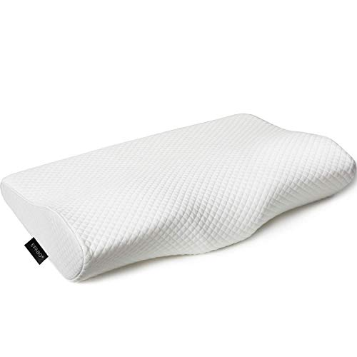 EPABO Contour Memory Foam Pillow Orthopedic Sleeping Pillows, Ergonomic Cervical Pillow for Neck Pain - for Side Sleepers, Back and Stomach Sleepers, Free Pillowcase Included ( Firm & Queen)