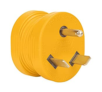 Camco PowerGrip Durable Electrical Adapter - Easy Grip for Simple and Safe Use 30 AMP Male 15 AMP Female  55233  Yellow Yellow