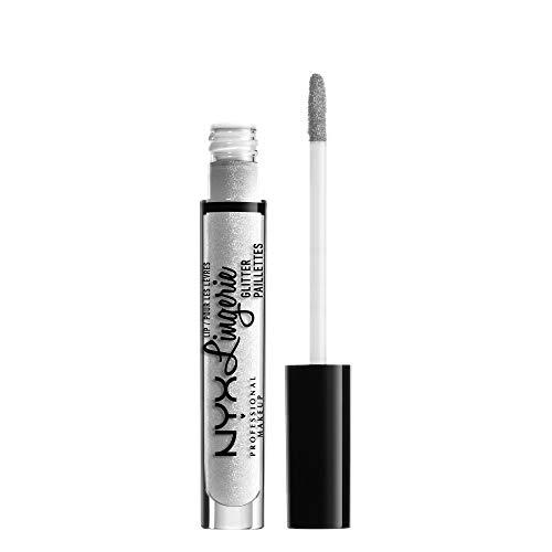NYX Professional Makeup Lipgloss - Lip Lingerie Glitter, pflegender & nudefarbener Gloss, für unwiderstehlich glänzende Lippen, 3,4 ml, Clear 01