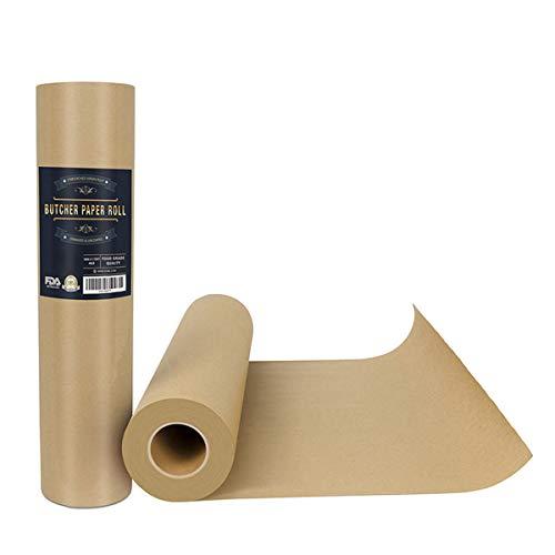 Ancoree Braun Metzgerpapier Rollen - 44.2cm x 5200cm - Lebensmittel-Grade FDA Zugelassen, Pfirsich Packpapier Zum Räucherfleisch Aller Sorten,Ungebleicht, Ungewachs und Unbeschichtet