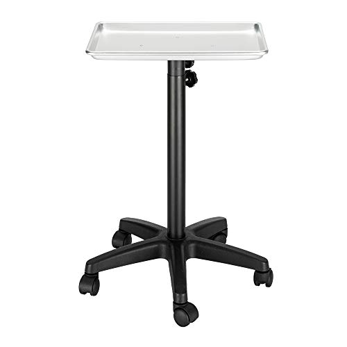 OmySalon Aluminum Instrument Tray on Wheels, Adjustable Height Rolling Service Cart for Tattoo Clinic Beauty Salon Hair Styling, Mobile Utility Trolley Tool Holder