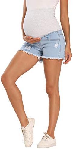 V VOCNI Maternity Shorts Women s Maternity Blue Mom Roll Hem Tassel Secret Over The Belly Denim product image