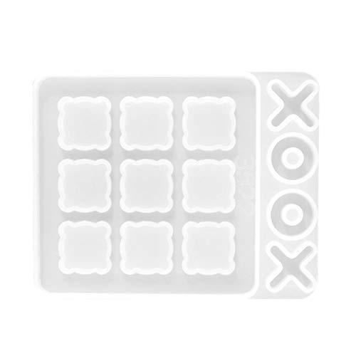 crazerop 3D XO Schach Form Craft Casting Silikonform Epoxidharz Formen, Kreative Epoxy Resin Mold Epoxidharz Harz Formen Kit, DIY Form Für Nullen Und Kreuze Spiel