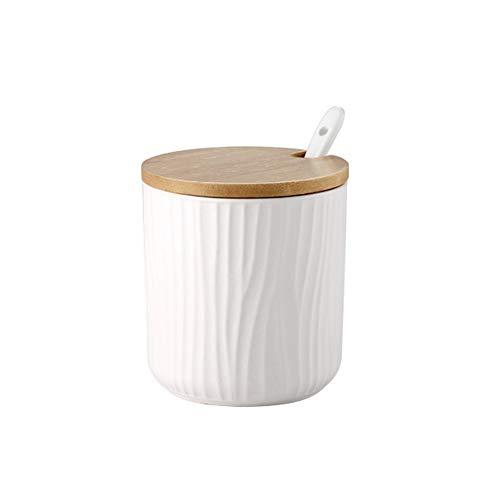 OnePine 300ml Zuccheriera, Zuccheriera in Ceramica Rotonda con Coperchio e Cucchiaio, Design Elegante, per Casa e Cucina