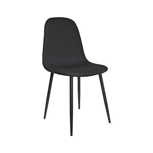 ZONS – Lote de 4 sillas de comedor Estocolmo de tela de color negro