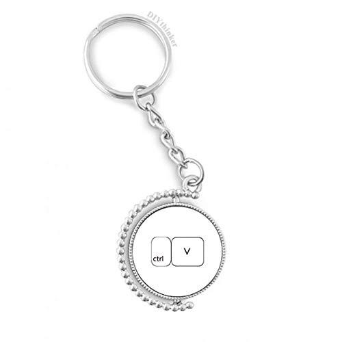 DIYthinker Tastatur Symbol ctrl V Drehbare Schlüsselanhänger Ringe 1.2 Zoll x 3.5 Zoll Mehrfarbig