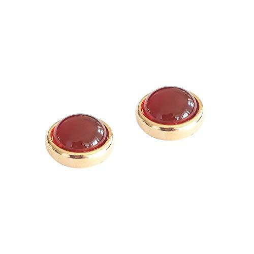 Ohrringe ESTHER Vergoldet mit Magnetverschluss und Natursteinen Achat