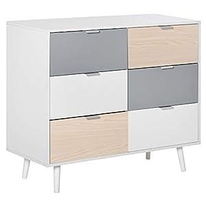 HOMCOM Chest Of Drawers Storage Cabinet Sideboard Dresser w/ 6 Drawers, Wood Legs Metal Handle Bedroom Hallway Living Room Furniture