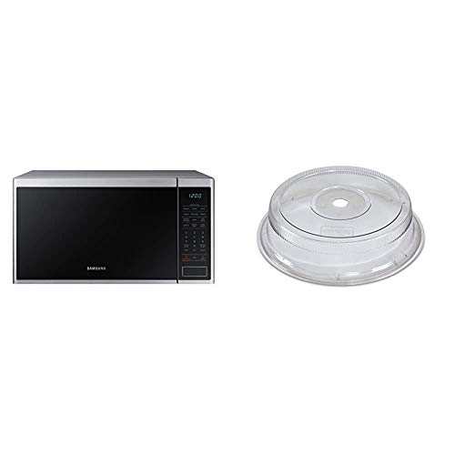 Samsung MS14K6000AS 1.4 cu. ft. Countertop Microwave Oven with Sensor and Ceramic Enamel Interior, Stainless Steel & Nordic Ware Deluxe Plate Cover