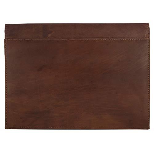 eFabrik Schutzhülle für Huawei MateBook E Ledertasche (passend für MateBook E 12' + Tastatur-Hülle) Schutz Tasche Vintage Hülle Cover Sleeve, Farbe:Cognac Braun - 6