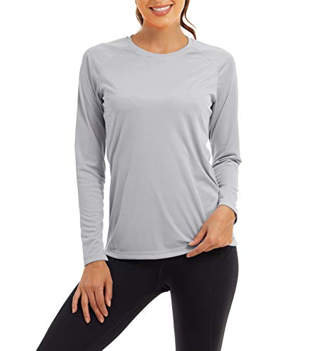 KEFITEVD Damen UV Shirt Sonnenschutzkleidung Atmungsaktiv Schnelltrocknend Langarmshirt für Outdoor Sport Leicht Funktionsshirt Hellgrau L
