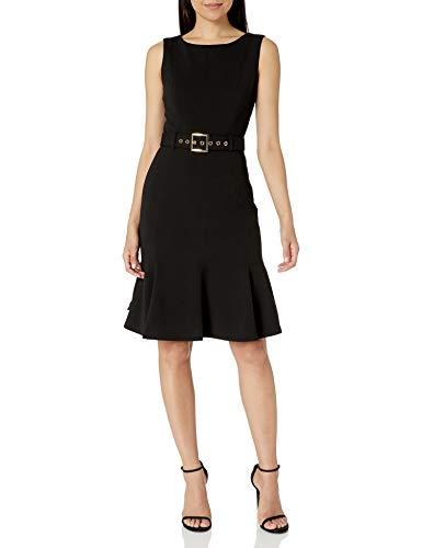Calvin Klein Women's Sleeveless Dress with Flounce Hem and Novelty Self Belt, Black, 12