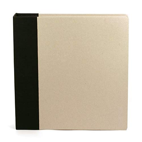 12 x 12-inch Modern D-Ring Chipboard Album by American Crafts | Black | Includes 5 free page protectors