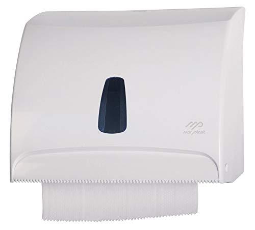 Mar Plast Dispenser per Carta Asciugamani Bianco A Muro Combi per Fogli in Carta O Rotolo