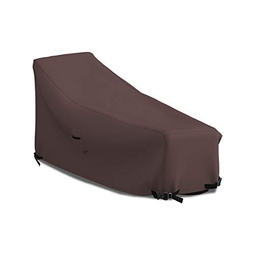 Patio Chaise Lounge Cover 12 Oz Waterproof - 100% UV & Weather Resistant 1000 D PVC Coated Outdoor Furniture Chaise Covers with Air Vents and Drawstring for Snug fit (80W x 34D x 32H, Coffee)
