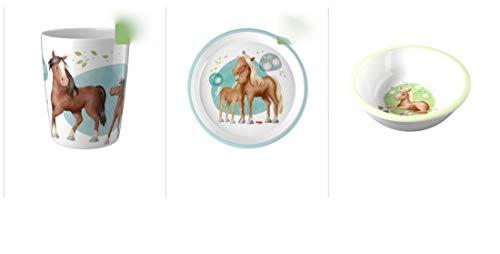 HABA Geschirr Set Pferde 3 Teile Becher, Teller, Schüssel 305697 305705 305699