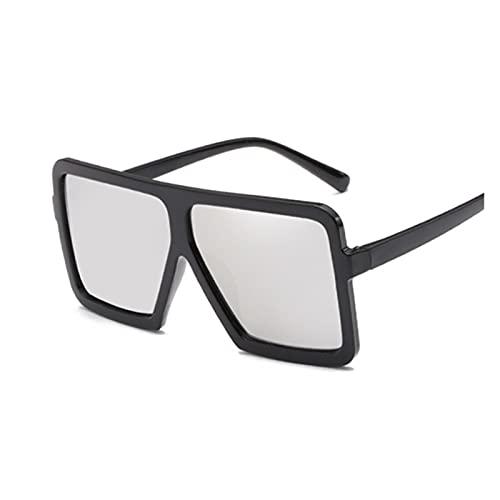 ZZDH Gafas de Sol Sombras de Gran tamaño Mujer Gafas de Sol Black Square Big Frame Gafas de Sol Vintage Retro Gafas Unisex Regalo para Madres (Lenses Color : BlackSilver)