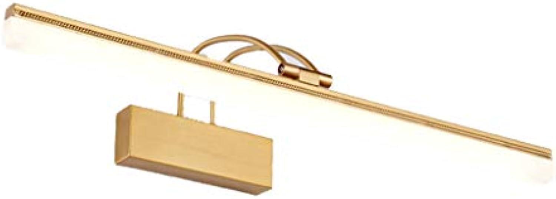 Bad Spiegelleuchten Spiegel-Scheinwerfer-modernes minimalistisches LED-Badezimmer-wasserdichtes Badezimmer-Lampe Anti-Nebel Badezimmer-Make-uplampe [Energieklasse A +] (Farbe   Kupfer-15W 73CM)