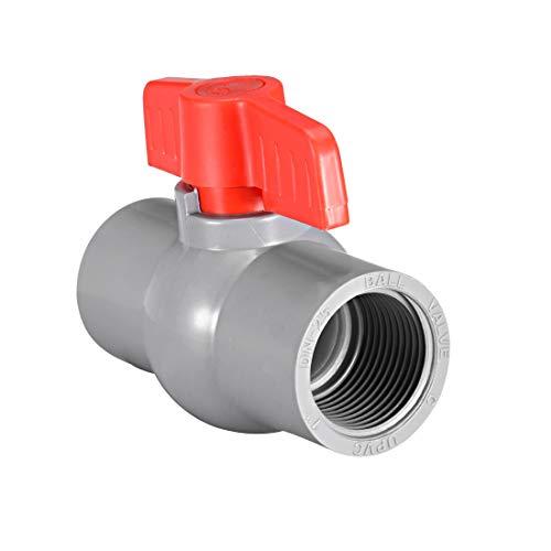 sourcing map PVC Kugelhahn Wasserversorgungsrohr Gewindeenden 1