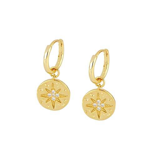 YIJTE Arete Pendientes de Aros de Estrellas de Cristales Colgantes para Mujeres 925 Pendientes de joyería de Plata esterlina cartílago Lujo (Gem Color : Gold)