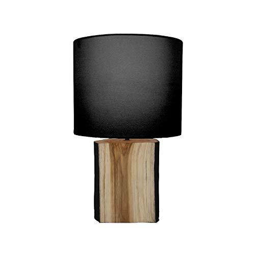 Pirouette Paris 7576201 tafellamp met voet, hout/zwart, natuurwit, 24 x 24 x 47 cm