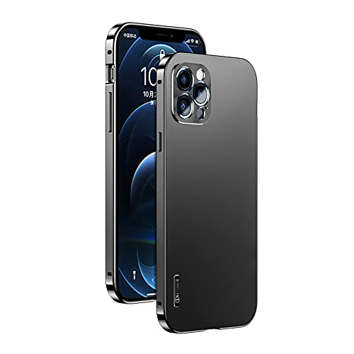Designed for iPhone 12 Pro Max Case, Alloymetal Frame, PMMA Material Back Plate, Non-Yellowing,[Military Grade Drop Tested] Shockproof Protective Phone Case (iPhone 12 Pro Max Case, Dazzling Black)