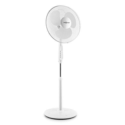 oneConcept White Blizzard 2G - Ventilator, Standventilator, leise, verbesserter Rundfuß, 3 weiße Rotorblätter, Timer, Oszillations-Schwenkfunktion, 3 Geschwindigkeiten, 50 Watt, weiß
