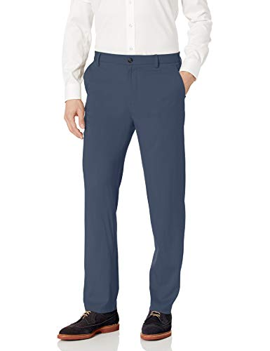 Van Heusen Men's Air Straight Fit Flat Front Dress Pant, Blue Haze, 32W X 32L