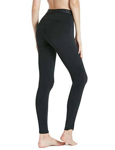 TSLA Women's Compression Baselayer Pants Casual Cool Dry Yoga Active Leggings Tights, Athletic(fup19) - Black, X-Small