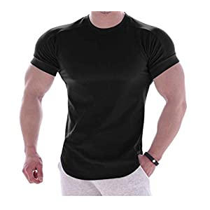 【makky】筋肉 マッチョ Vシェイプ シャツ 速乾 伸縮 (XL, ブラック)