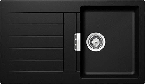 SCHOCK hochwertige Küchenspüle 86 x 50 cm Signus D-100 Magma - CRISTADUR schwarze Spüle mit Abtropffläche ab 45 cm Unterschrank-Breite