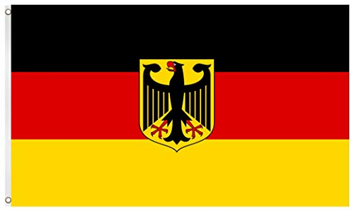 Blackshirt Company Deutschland Fahne mit Adler Deutsche National Länder Flagge mit Ösen 150 x 90 cm Farbe Mehrfarbig