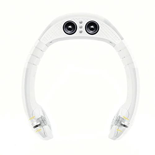 LWZ Ventilatore da Collo sospeso, Ventilatore Audio Bluetooth, Lettore Musicale Portatile, Adatto per Viaggi, Sport, attività all'aperto, Ufficio,Bianca