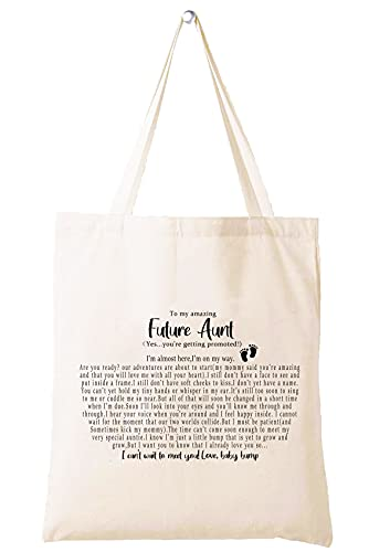 To My Amazing Future Aunt - Get Promoted to Baby Reveal Geschenke für Tante Schwester Best Friends New Be Schwangerschaft Ankündigung Geschenk Schultertasche Einkaufstasche Tote Bag