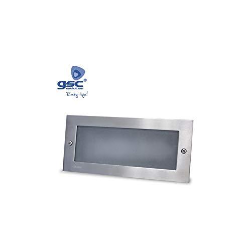 GSC Evolution Aplique Rectangular Aluminio empotrable Pared LED5W 6000K-Caja de empotrar incluida, Níquel satinado, 233x80x100mm