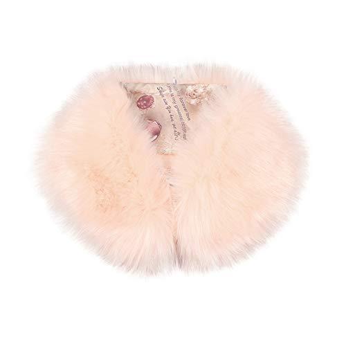LPxdywlk Damen Wintermode Schal Kunstpelz Flauschigen Pelzkragen Schal Hals Warme Schal Geschenk Rosa