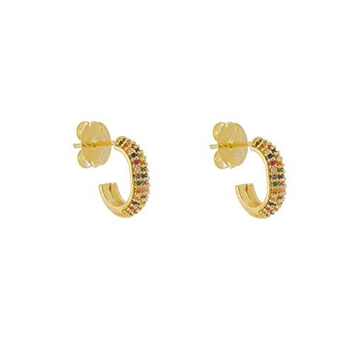 Brinco Piuka Zara M 3 Fileiras Zircônias Coloridas Folheado A Ouro 18k