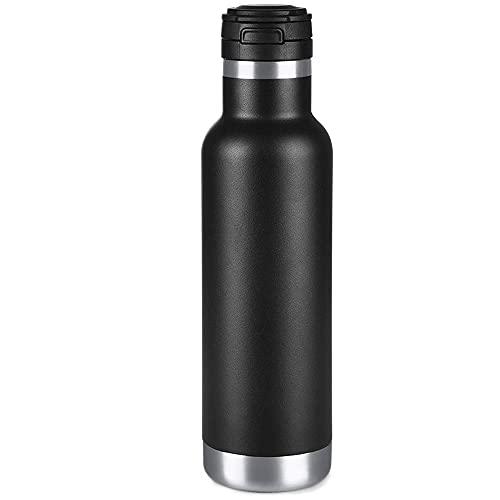 Botella de Agua de Acero Inoxidable 580 ml, Botella de Agua de Metal aislada, Botella de vacío Mantiene Las 24 Horas frías 12 Horas Caliente, se Abre con un Clic, sin BPA, a Prueba de Fugas (negro)