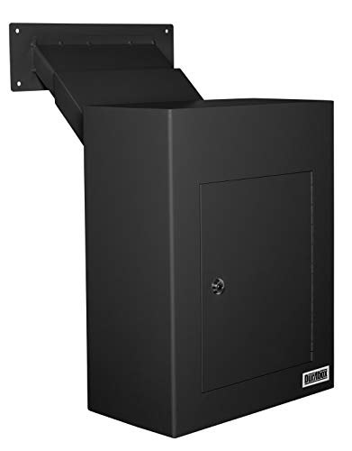 DuraBox D700 Through The Wall Drop Box w/Adjustable Chute Deposit Safe Mail Box (Black)