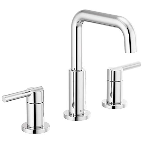 DELTA Nicoli Widespread Bathroom Faucet Chrome, Bathroom Faucet 3 Hole, Bathroom Sink Faucet, Drain...