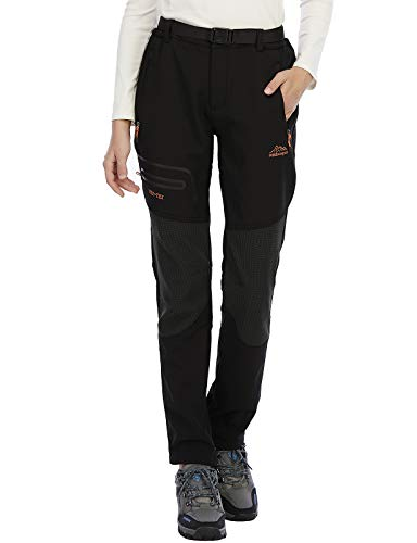 BenBoy Damen Wanderhose Wasserdicht Softshellhose Outdoorhose Winddicht Warm Gefüttert Winter Skihose Snowboardhose Trekkinghose,Schwarz,XS