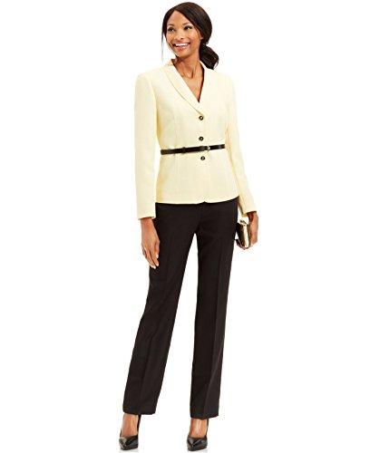 Tahari Asl Belted Herringbone Pantsuit Yellow/Black (2)