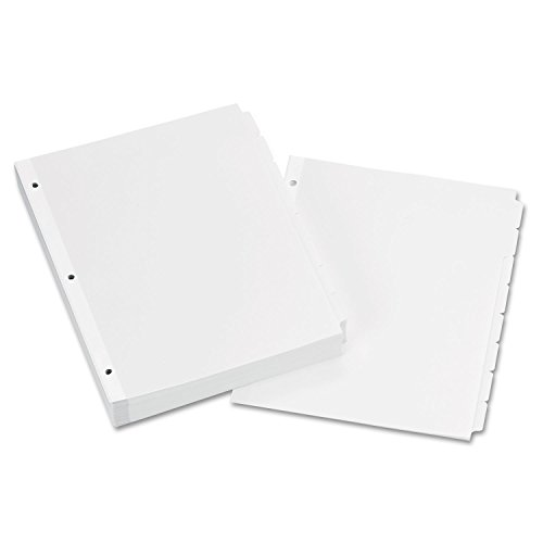 Avery 8-Tab Binder Dividers, Write-On Plain Tabs, 24 Sets (11507), White