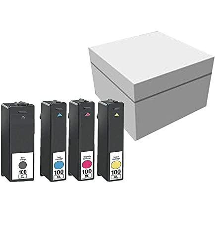 ESTON Compatible Ink Cartridge Replacement for Lexmark 100XL 100 XL High Yield for Lexmark Impact S305 ,Pinnacle Pro901 (1Black 1Cyan 1Magenta 1Yellow , 4-Pack)