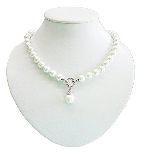 LUISIA® Perlen Collier mit großem Anhänger und Kristallen von Swarovski® - Zauberhafte Perlenkette Schmuck Halskette Brautschmuck