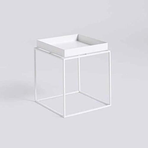Table Basse multifonctionnelle Salon de Fleurs Canapé Table d'appoint Tablette Chambre Bureau Métal Noir et Blanc (Couleur : Blanc, Taille : 30x30cm)