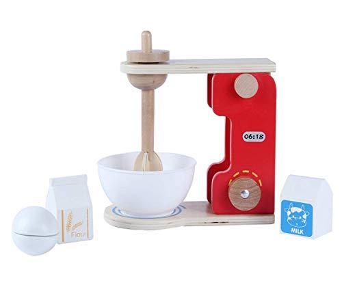 B&Julian Spielzeug Mixer Rührer Set aus Holz Küchenmaschine inkl. Rührschüssel mit Zubehör Mehl Milch Ei Kinderküche 6 TLG. Rollenspiel für Kinder ab 2 Jahre