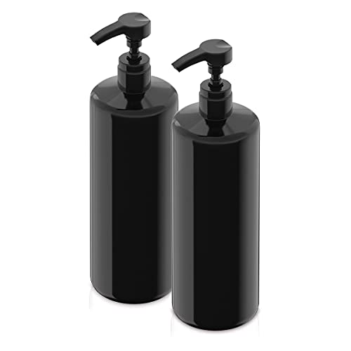 BAR5F Empty Shampoo Bottle with Pump, Black, 1 Liter/32 Ounce Refillable Dispensing Containers for Conditioner, Body Wash, Hair Gel, Liquid Soap, DIY Lotions and Massage Oils (Pack of 2)